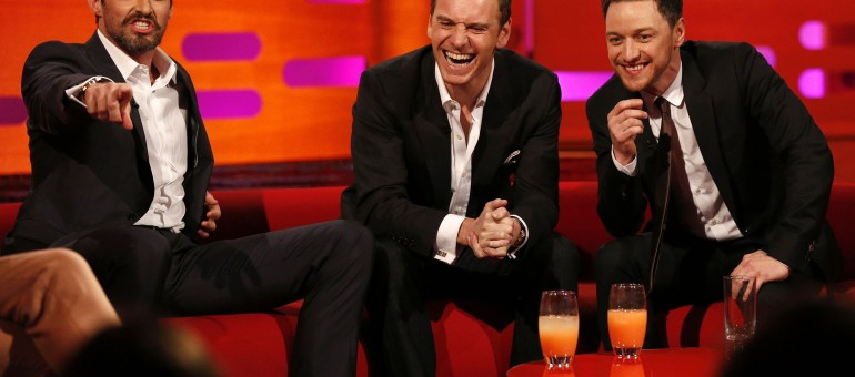 Hugh Jackman, Michael Fassbender and James McAvoy during the filming of the Graham Norton Show at the London Studios, south London, to be aired on BBC One on Friday evening.